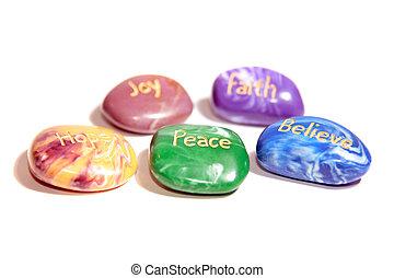 pedras, afirmação, cinco