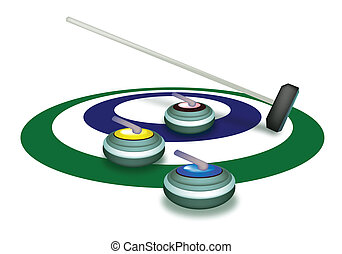 pedras, anel, curling, cobrança, gelo