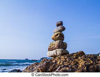 pedras, costa, mar, natureza
