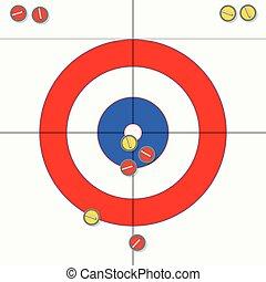 pedras, curling, ilustração, vetorial, gelo, desporto