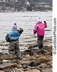 pedras perpétuas, praia rochosa, jogar, dois, mar, crianças