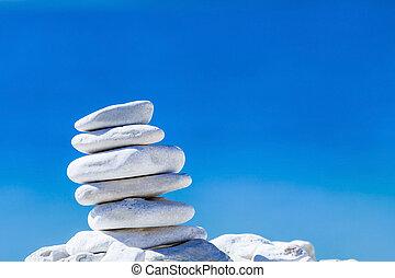 pedras, seixos, sobre, azul, equilíbrio, pilha mar, croatia.