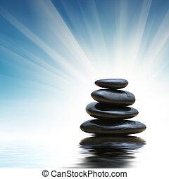 pedras, zen, pilha