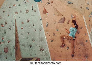 pedregulho, mulher, ginásio, jovem, artificial, escalando