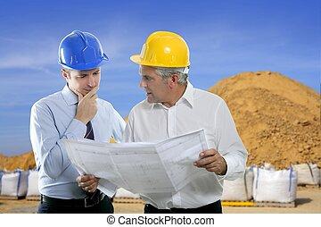 pedreira, dois, plano arquiteto, equipe, perícia, engenheiro