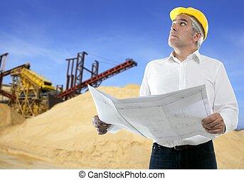 pedreira, perícia, plano, arquiteta, sênior, engenheiro