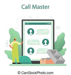 pedreiro, construtor, online, construir, serviço, platform., profissional, ou