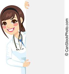 peeking, médico feminino