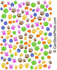 pegada, animais, seamless, coloridos