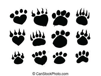 pegadas, silhuetas, animal