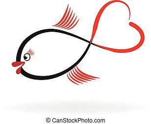 peixe, amor, logotipo