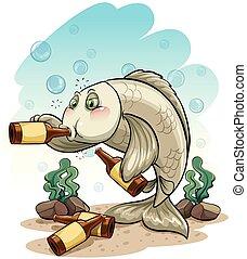 peixe, bêbado, mar, sob