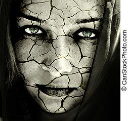 pele, rachado, rosto mulher