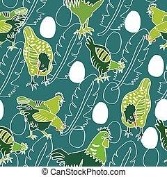 pena, galinha, repetindo, galo, pintinho, vetorial, caricatura, fundo, personagem, branca, pattern., silhouette., ovos, galinha, aqua, esboços