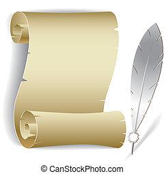 pena, papel, antigas, rolo