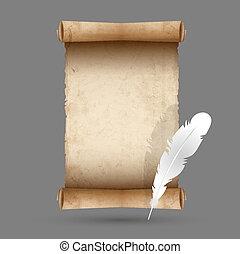 pena, papel, antigas, scroll