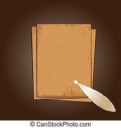 pena, papel, antigas