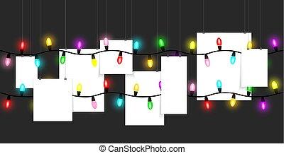 penduradas, bulbos, papel, colorido, luz