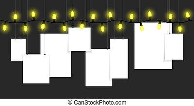 penduradas, bulbos, papel, luz amarela