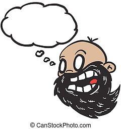 pensamento, barbudo, calvo, bolha, homem