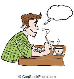 pensamento, fumar, bolha, homem