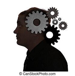 pensando, cabeça, homem, idéia, engrenagens