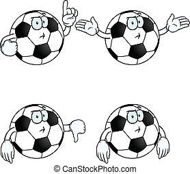 pensando, futebol, jogo, caricatura