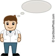 pensando, médico, -, caricatura, doutor