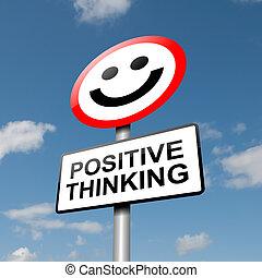pensando, positivo, concept.