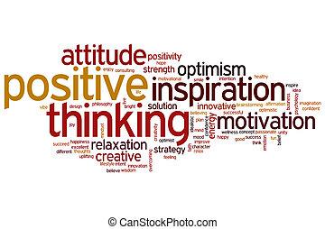 pensando, positivo, palavra, nuvem
