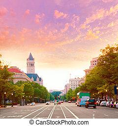 pensilvânia, pôr do sol, c.c. washington, avenida