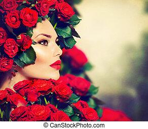 penteado, menina, moda, beleza, modelo, rosas, retrato, vermelho