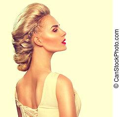 penteado, moda, updo, retrato, modelo, menina