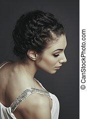 penteado, modelo, femininas, trançado