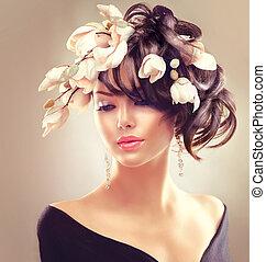 penteado, morena, beleza, magnólia, mulher, portrait., menina, flores, moda