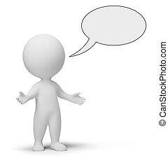 pequeno, 3d, -, conversa, pessoas