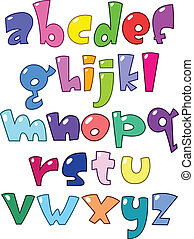 pequeno, alfabeto, caricatura
