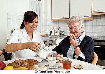 pequeno almoço, mulher, ajudas, idoso, enfermeira