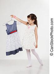 pequeno, cabides, shopping, menina, roupas