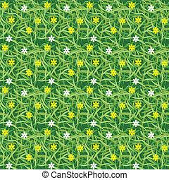 pequeno, campo, flor, grama verde
