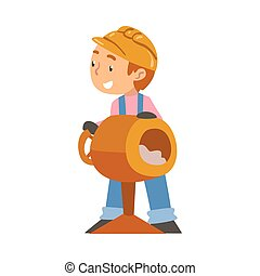 pequeno, caricatura, menino, construção, misturador, construtor, concreto, personagem, difícil, vetorial, equipamento, profissional, chapéu, overalls, azul, cute, trabalhador, ilustração, desgastar, estilo