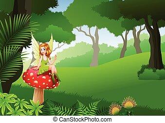 pequeno, cogumelo, sentando, floresta tropical, fundo, fada