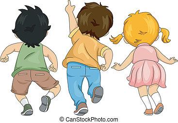 pequeno, crianças, cima, vista, costas, olhar