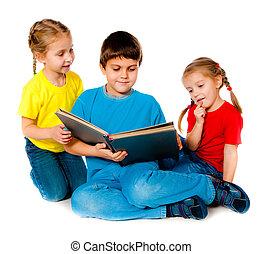 pequeno, crianças, livro