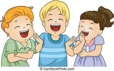 pequeno, crianças, rir