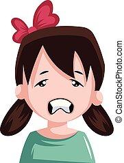 pequeno, dela, ilustração, arco, cabelo, vetorial, pigtails, fundo, cansado, branca, menina