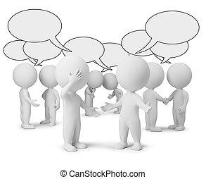 pequeno, discussão, 3d, -, pessoas