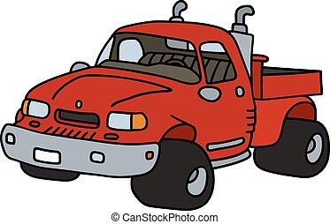 pequeno, engraçado, caminhão, vermelho