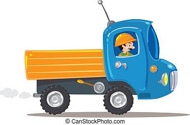 pequeno, engraçado, trabalhador, caminhão, agradável