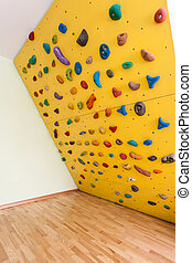 pequeno, escalando, amarela, parede